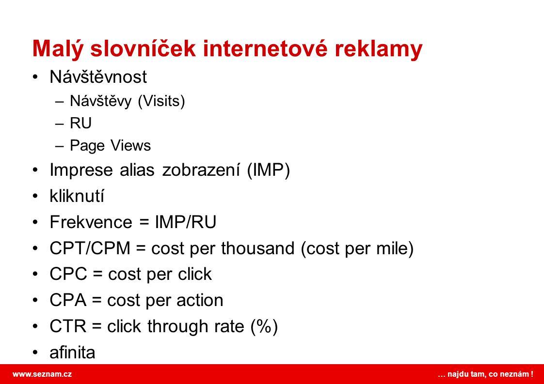 www.seznam.cz … najdu tam, co neznám ! Malý slovníček internetové reklamy Návštěvnost –Návštěvy (Visits) –RU –Page Views Imprese alias zobrazení (IMP)