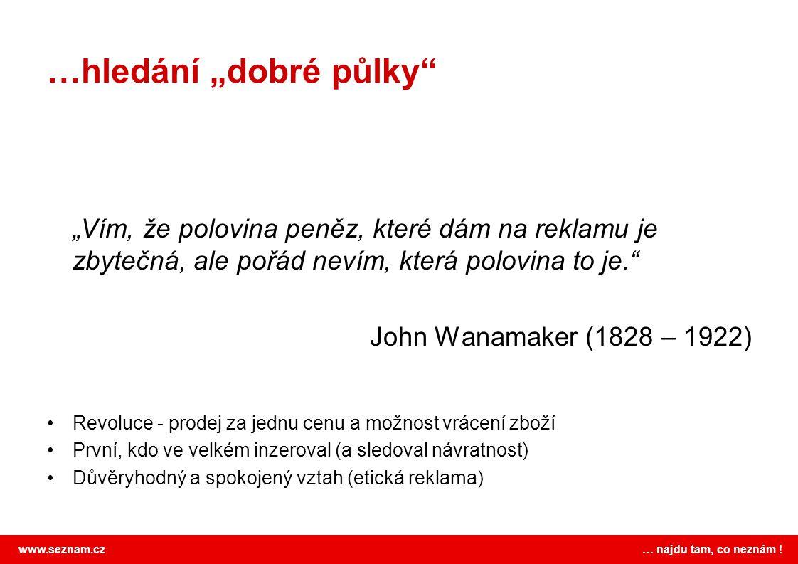 """www.seznam.cz … najdu tam, co neznám ! …hledání """"dobré půlky"""" """"Vím, že polovina peněz, které dám na reklamu je zbytečná, ale pořád nevím, která polovi"""