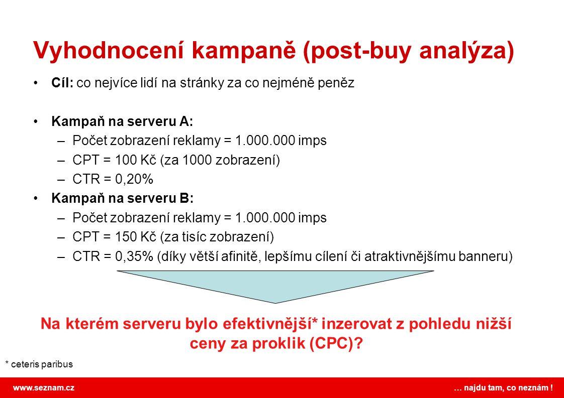 www.seznam.cz … najdu tam, co neznám ! Vyhodnocení kampaně (post-buy analýza) Cíl: co nejvíce lidí na stránky za co nejméně peněz Kampaň na serveru A: