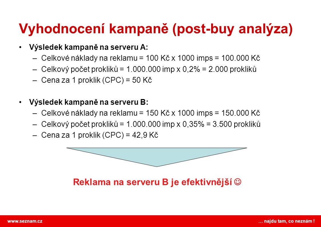 www.seznam.cz … najdu tam, co neznám ! Vyhodnocení kampaně (post-buy analýza) Výsledek kampaně na serveru A: –Celkové náklady na reklamu = 100 Kč x 10