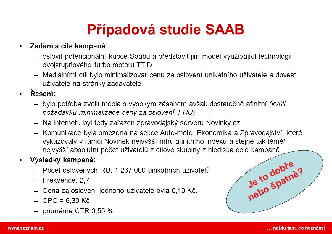 www.seznam.cz … najdu tam, co neznám ! Případová studie SAAB Zadání a cíle kampaně: –oslovit potencionální kupce Saabu a představit jim model využívaj