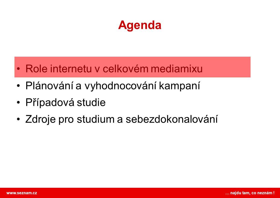 www.seznam.cz … najdu tam, co neznám ! Agenda Role internetu v celkovém mediamixu Plánování a vyhodnocování kampaní Případová studie Zdroje pro studiu