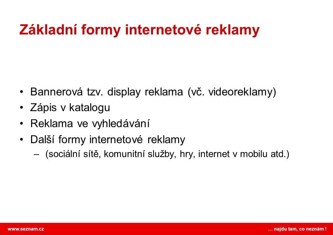 www.seznam.cz … najdu tam, co neznám ! Základní formy internetové reklamy Bannerová tzv. display reklama (vč. videoreklamy) Zápis v katalogu Reklama v