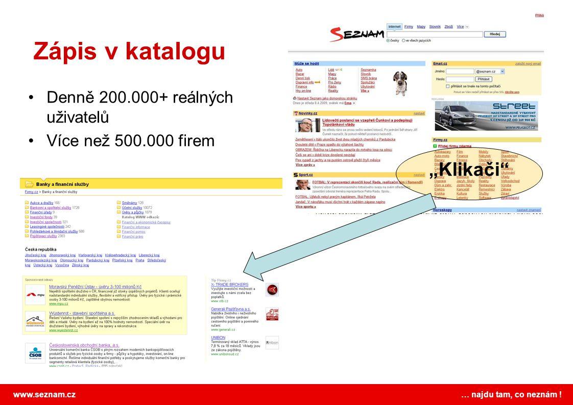 """www.seznam.cz … najdu tam, co neznám ! Zápis v katalogu """"Klikači"""" Denně 200.000+ reálných uživatelů Více než 500.000 firem"""