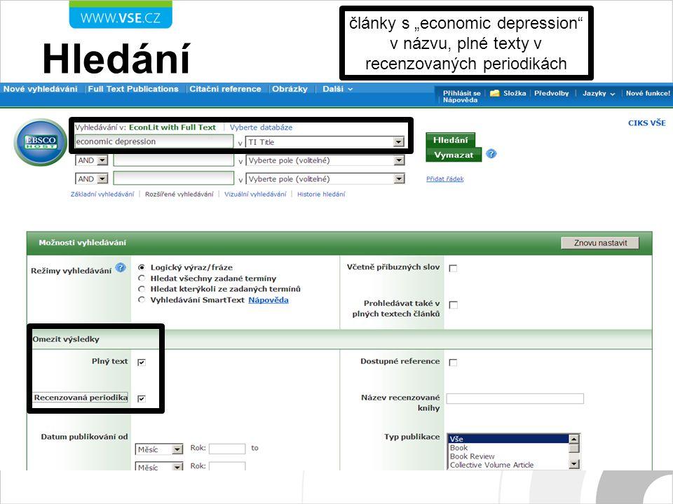 """Hledání články s """"economic depression v názvu, plné texty v recenzovaných periodikách"""