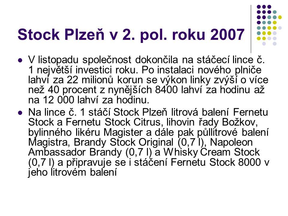 Stock Plzeň v 2. pol. roku 2007 V listopadu společnost dokončila na stáčecí lince č. 1 největší investici roku. Po instalaci nového plniče lahví za 22