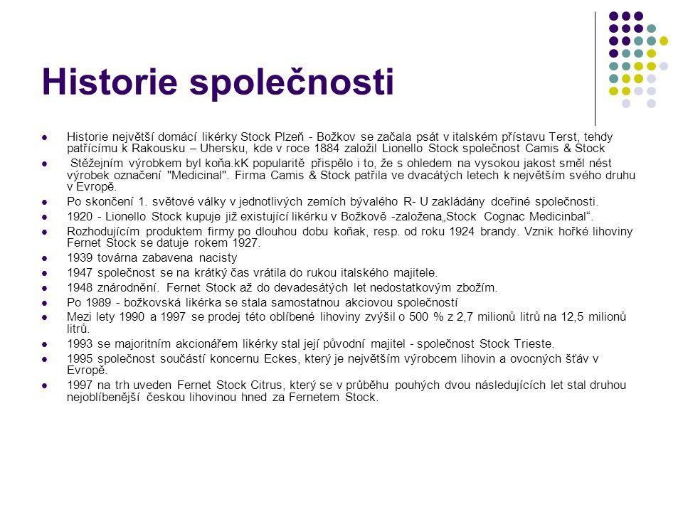 Historie společnosti Historie největší domácí likérky Stock Plzeň - Božkov se začala psát v italském přístavu Terst, tehdy patřícímu k Rakousku – Uher