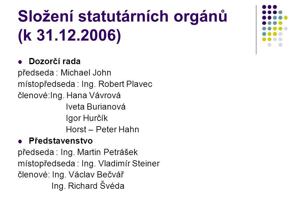Složení statutárních orgánů (k 31.12.2006) Dozorčí rada předseda : Michael John místopředseda : Ing. Robert Plavec členové:Ing. Hana Vávrová Iveta Bur