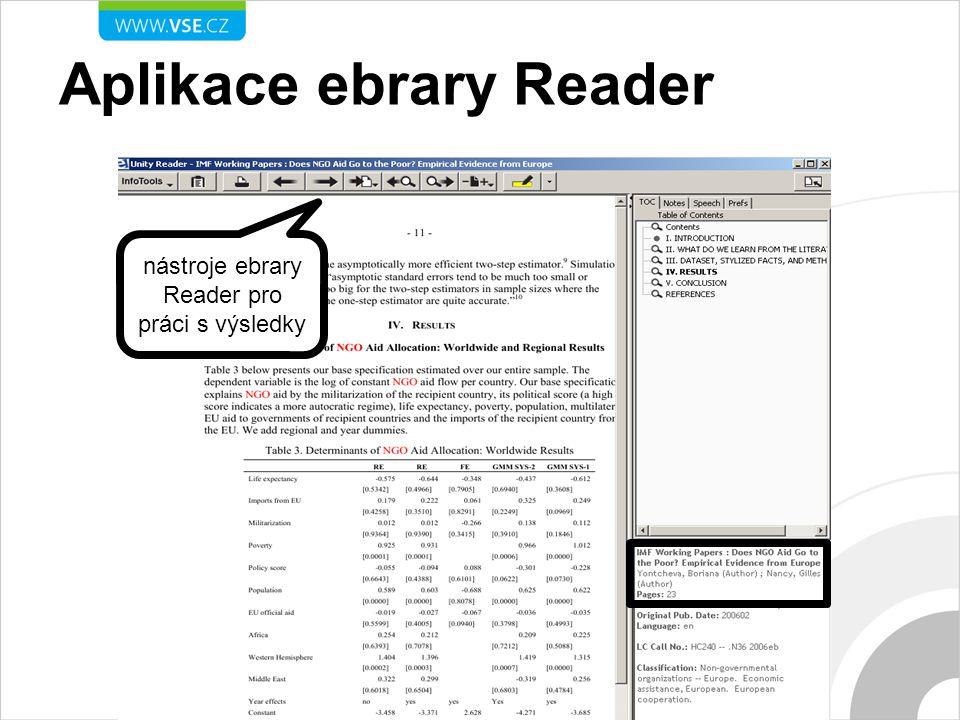 nástroje ebrary Reader pro práci s výsledky Aplikace ebrary Reader