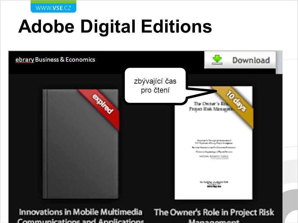 Adobe Digital Editions zbývající čas pro čtení