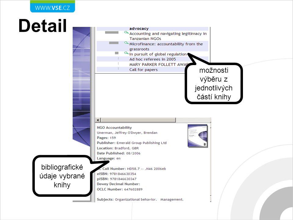 Detail možnosti výběru z jednotlivých částí knihy bibliografické údaje vybrané knihy