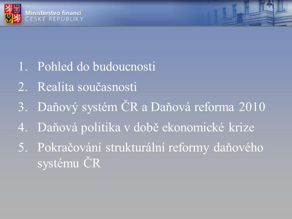 1.Pohled do budoucnosti 2.Realita současnosti 3.Daňový systém ČR a Daňová reforma 2010 4.Daňová politika v době ekonomické krize 5.Pokračování struktu