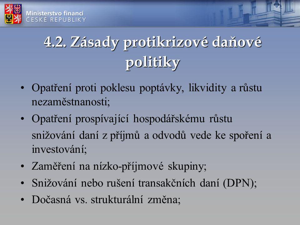 4.2. Zásady protikrizové daňové politiky Opatření proti poklesu poptávky, likvidity a růstu nezaměstnanosti; Opatření prospívající hospodářskému růstu