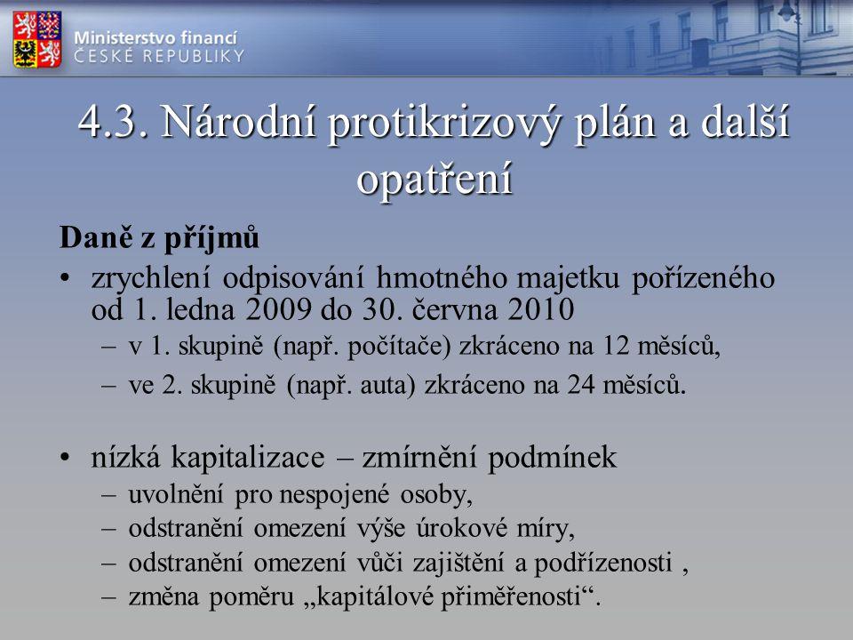 Národní protikrizový plán a další opatření Daně z příjmů: –zrušení záloh na daň z příjmů pro fyzické a právnické osoby zaměstnávající maximálně 5 zaměstnanců, –od roku 2007 postupné snižování sazby daně z příjmů právnických osob na 20 % v roce 2009 a 19 % od roku 2010.