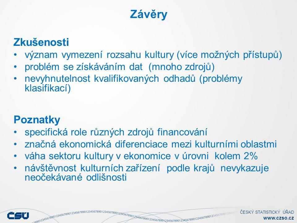 ČESKÝ STATISTICKÝ ÚŘAD www.czso.cz Závěry Zkušenosti význam vymezení rozsahu kultury (více možných přístupů) problém se získáváním dat (mnoho zdrojů)