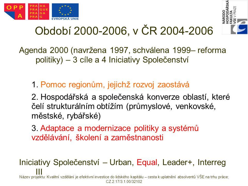 Období 2000-2006, v ČR 2004-2006 Agenda 2000 (navržena 1997, schválena 1999– reforma politiky) – 3 cíle a 4 Iniciativy Společenství 1)1. Pomoc regionů