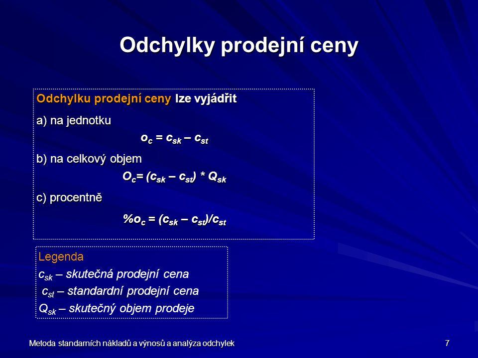 Metoda standarních nákladů a výnosů a analýza odchylek 8 Odchylky nákladů Odchylku variabilních nákladů lze vyjádřit a) na jednotku výkonů o v = v st – v sk b) na celkový objem výkonů O v = (v st – v sk ) * Q sk c) procentně %o v = (v st – v sk )/v st Odchylku fixních nákladů lze vyjádřit a) celkem O F = F st – F sk b) na jednotku výkonů o F = (F st – F sk )/Q sk c) procentně o F = (F st – F sk ) / F st Legenda v st - variabilní náklady na jednotku standardní v sk - variabilní náklady na jednotku skutečné F st - celkové fixní náklady standardní F st - celkové fixní náklady skutečné Q sk - skutečný objem výkonů