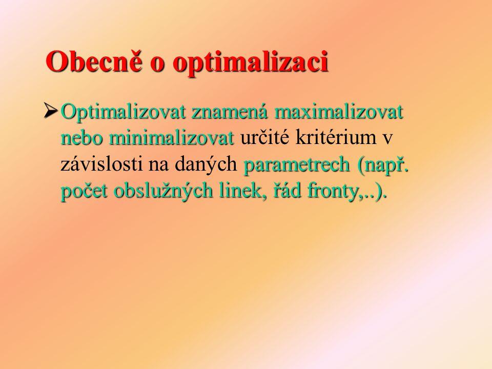 Optimalizace pomocí simulace náhodné veličiny  Vyskytují se náhodné veličiny – nelze použít výpočet spustit simulaci několikrát  Pro odhad proměnných je nutné spustit simulaci několikrát omezený počet variant  Lze prozkoumat pouze omezený počet variant  Neexistuje přesně definované jednoznačné řešení