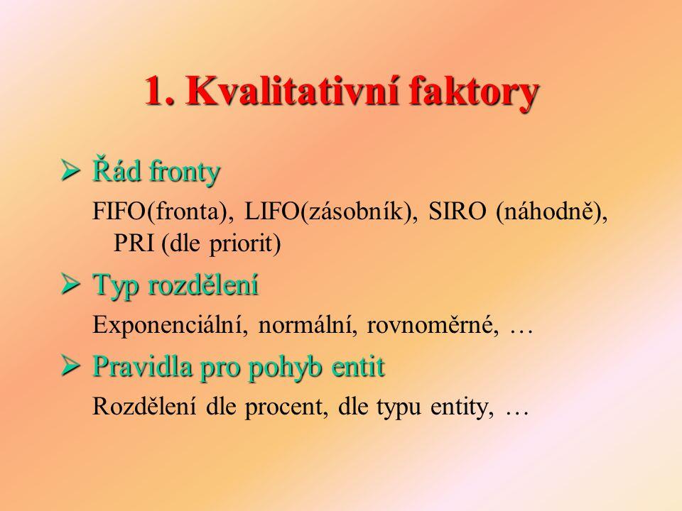 1. Kvalitativní faktory  Řád fronty FIFO(fronta), LIFO(zásobník), SIRO (náhodně), PRI (dle priorit)  Typ rozdělení Exponenciální, normální, rovnoměr