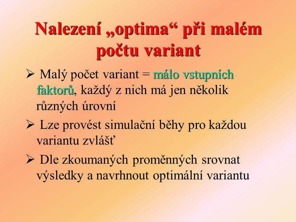 """Nalezení """"optima při velkém počtu variant mnoho faktorů  Velký počet variant = mnoho faktorů či u každého faktoru mnoho úrovní  Nelze prozkoumat všechny varianty  Možnosti: –Pomocí experimentu Monte Carlo –Metoda Friedmana a Savage –Metoda RSM, …"""