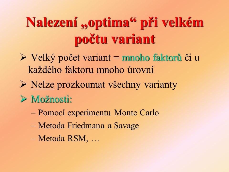 Experiment Monte Carlo  Numerické řešení pomocí několikrát opakovaných náhodných pokusů  Postup při velkém počtu variant: 1.Vygeneruj variantu 2.Proveď několik simulačních běhů 3.Srovnej výsledky - pokud jsou lepší než předešlé, ulož nové a označ variantu jako nejvhodnější 4.Postup opakuj dokud nebyl prozkoumán požadovaný počet variant nebo dokud nebyla dosažena přijatelná úroveň výsledků
