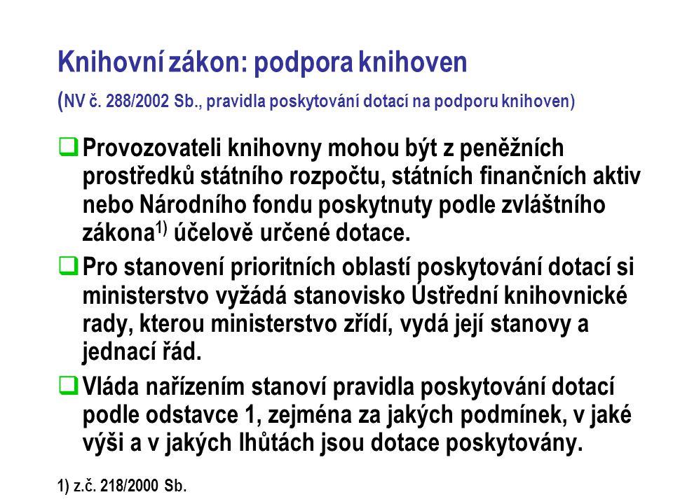 Knihovní zákon: podpora knihoven ( NV č.