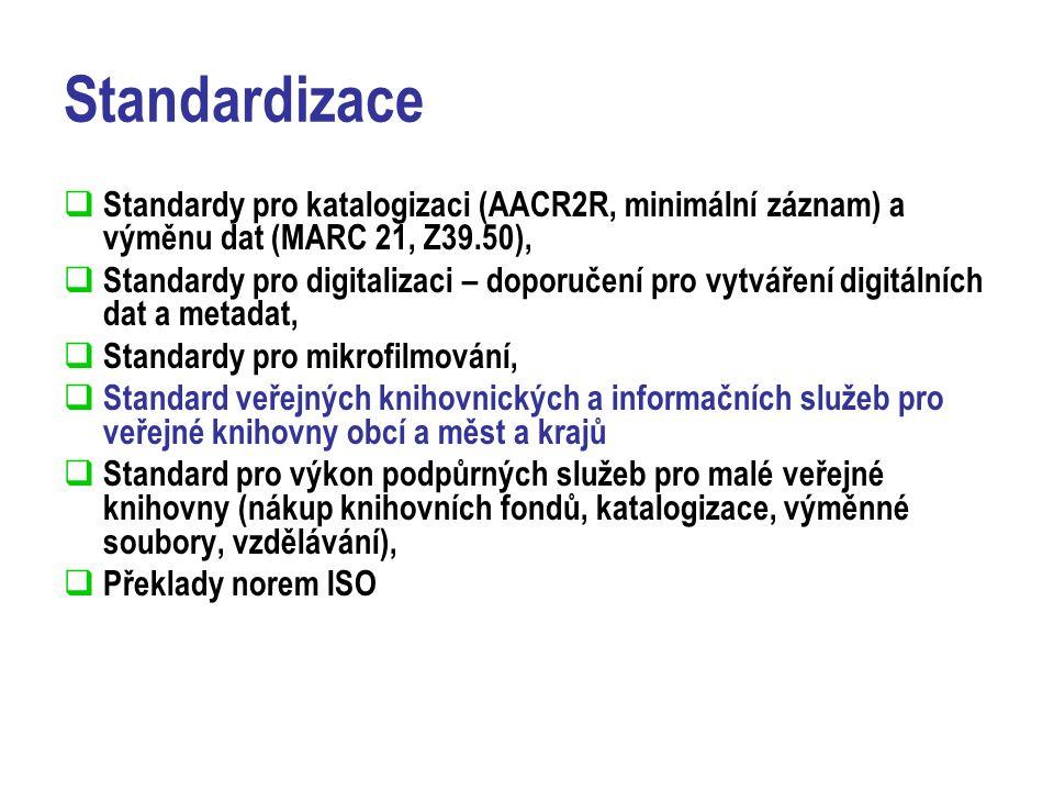 Standardizace  Standardy pro katalogizaci (AACR2R, minimální záznam) a výměnu dat (MARC 21, Z39.50),  Standardy pro digitalizaci – doporučení pro vytváření digitálních dat a metadat,  Standardy pro mikrofilmování,  Standard veřejných knihovnických a informačních služeb pro veřejné knihovny obcí a měst a krajů  Standard pro výkon podpůrných služeb pro malé veřejné knihovny (nákup knihovních fondů, katalogizace, výměnné soubory, vzdělávání),  Překlady norem ISO