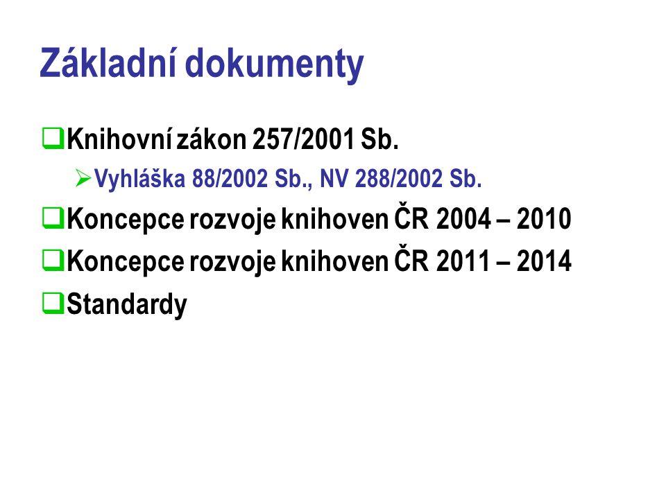 Základní dokumenty  Knihovní zákon 257/2001 Sb. Vyhláška 88/2002 Sb., NV 288/2002 Sb.