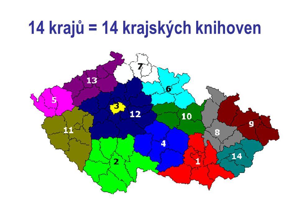 14 krajů = 14 krajských knihoven