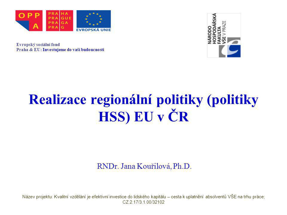 Období 2007-2013 Národní strategický referenční rámec (cca 140 stran), analytická část velmi stručná (cca 30 stran) Strategická část vychází z NRP – vize, cíle, prioritní osy, priority Podrobnější popis zaměření operačních programů, větší důraz na provázání s Národním programem reforem (Lisabonská strategie) Název projektu: Kvalitní vzdělání je efektivní investice do lidského kapitálu – cesta k uplatnění absolventů VŠE na trhu práce; CZ.2.17/3.1.00/32102
