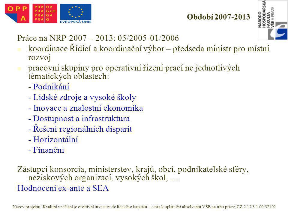 Období 2007-2013 Práce na NRP 2007 – 2013: 05/2005-01/2006 koordinace Řídící a koordinační výbor – předseda ministr pro místní rozvoj pracovní skupiny