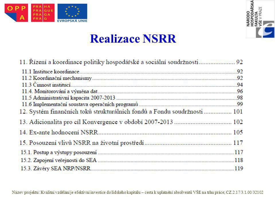 Realizace NSRR Název projektu: Kvalitní vzdělání je efektivní investice do lidského kapitálu – cesta k uplatnění absolventů VŠE na trhu práce; CZ.2.17