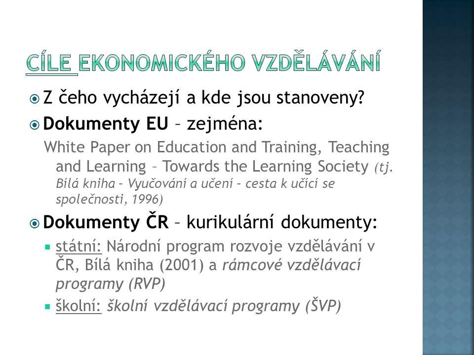  Z čeho vycházejí a kde jsou stanoveny?  Dokumenty EU – zejména: White Paper on Education and Training, Teaching and Learning – Towards the Learning