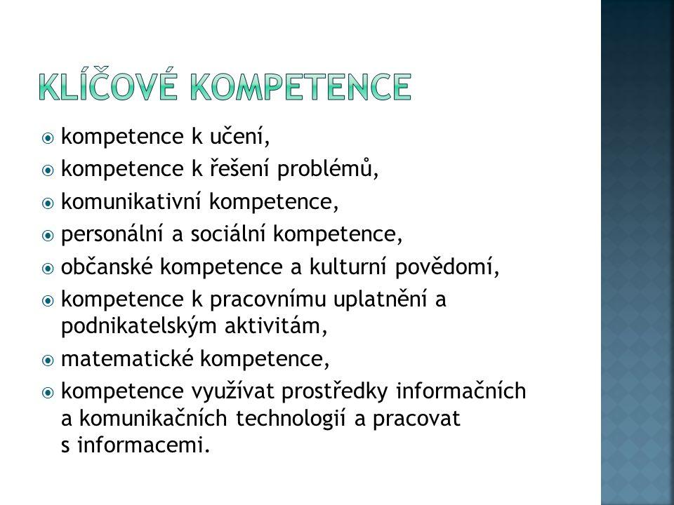  kompetence k učení,  kompetence k řešení problémů,  komunikativní kompetence,  personální a sociální kompetence,  občanské kompetence a kulturní