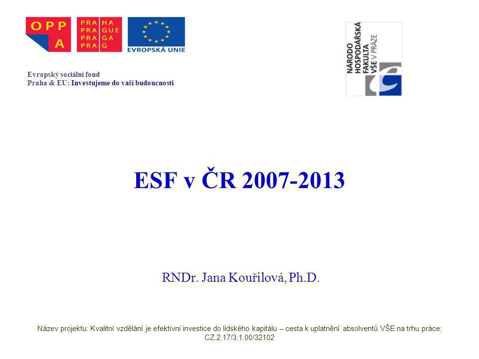 ESF v ČR 2007-2013 RNDr. Jana Kouřilová, Ph.D.