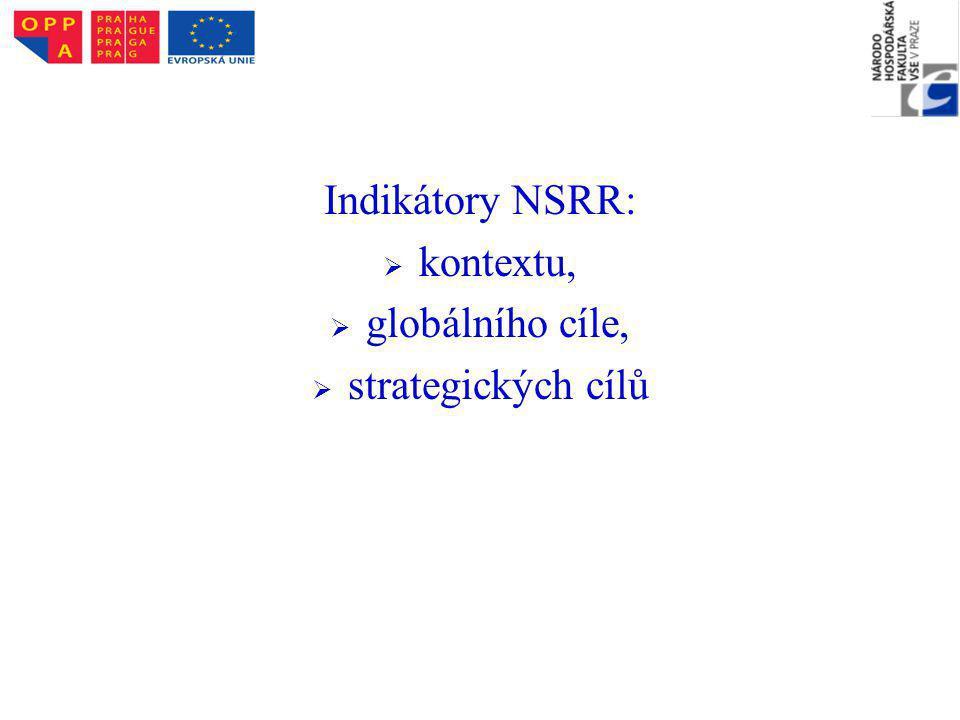 Indikátory NSRR:   kontextu,   globálního cíle,   strategických cílů