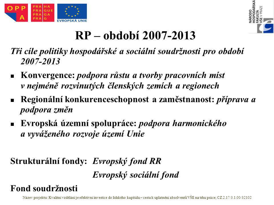 RP – období 2007-2013 Tři cíle politiky hospodářské a sociální soudržnosti pro období 2007-2013 Konvergence: podpora růstu a tvorby pracovních míst v nejméně rozvinutých členských zemích a regionech Regionální konkurenceschopnost a zaměstnanost: příprava a podpora změn Evropská územní spolupráce: podpora harmonického a vyváženého rozvoje území Unie Strukturální fondy:Evropský fond RR Evropský sociální fond Fond soudržnosti Název projektu: Kvalitní vzdělání je efektivní investice do lidského kapitálu – cesta k uplatnění absolventů VŠE na trhu práce; CZ.2.17/3.1.00/32102