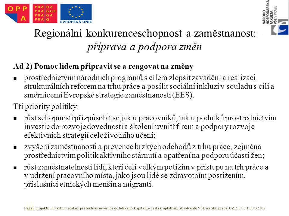 Regionální konkurenceschopnost a zaměstnanost: příprava a podpora změn Ad 2) Pomoc lidem připravit se a reagovat na změny prostřednictvím národních programů s cílem zlepšit zavádění a realizaci strukturálních reforem na trhu práce a posílit sociální inkluzi v souladu s cíli a směrnicemi Evropské strategie zaměstnanosti (EES).