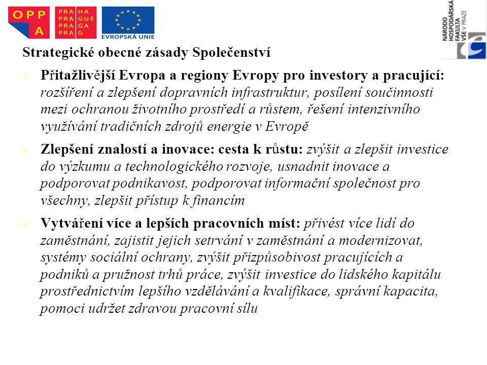 Strategické obecné zásady Společenství Přitažlivější Evropa a regiony Evropy pro investory a pracující: rozšíření a zlepšení dopravních infrastruktur, posílení součinnosti mezi ochranou životního prostředí a růstem, řešení intenzivního využívání tradičních zdrojů energie v Evropě Zlepšení znalostí a inovace: cesta k růstu: zvýšit a zlepšit investice do výzkumu a technologického rozvoje, usnadnit inovace a podporovat podnikavost, podporovat informační společnost pro všechny, zlepšit přístup k financím Vytváření více a lepších pracovních míst: přivést více lidí do zaměstnání, zajistit jejich setrvání v zaměstnání a modernizovat, systémy sociální ochrany, zvýšit přizpůsobivost pracujících a podniků a pružnost trhů práce, zvýšit investice do lidského kapitálu prostřednictvím lepšího vzdělávání a kvalifikace, správní kapacita, pomoci udržet zdravou pracovní sílu
