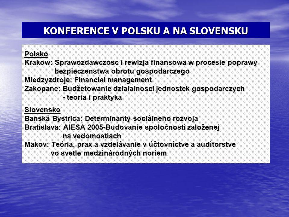 KONFERENCE V POLSKU A NA SLOVENSKU Polsko Krakow: Sprawozdawczosc i rewizja finansowa w procesie poprawy bezpieczenstwa obrotu gospodarczego bezpiecze