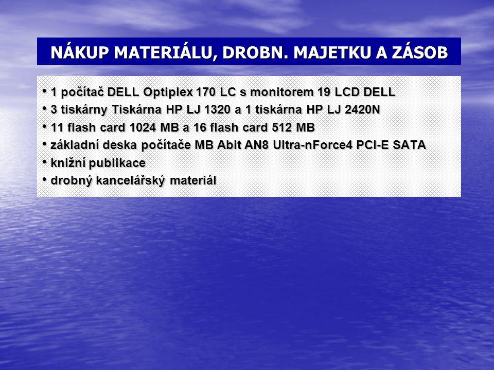 NÁKUP MATERIÁLU, DROBN. MAJETKU A ZÁSOB 1 počítač DELL Optiplex 170 LC s monitorem 19 LCD DELL 1 počítač DELL Optiplex 170 LC s monitorem 19 LCD DELL