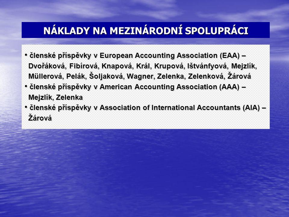 NÁKLADY NA MEZINÁRODNÍ SPOLUPRÁCI členské příspěvky v European Accounting Association (EAA) – členské příspěvky v European Accounting Association (EAA