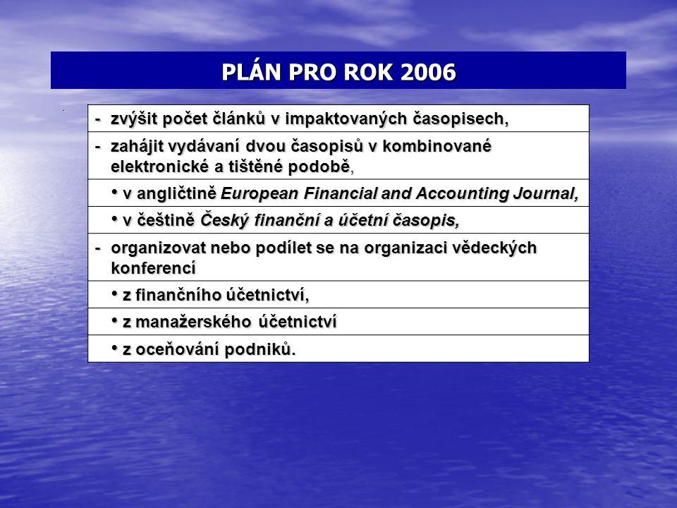 PLÁN PRO ROK 2006 -práce na informační podpoře strategického řízení podnikatelských subjektů. - zvýšit počet článků v impaktovaných časopisech, - zahá