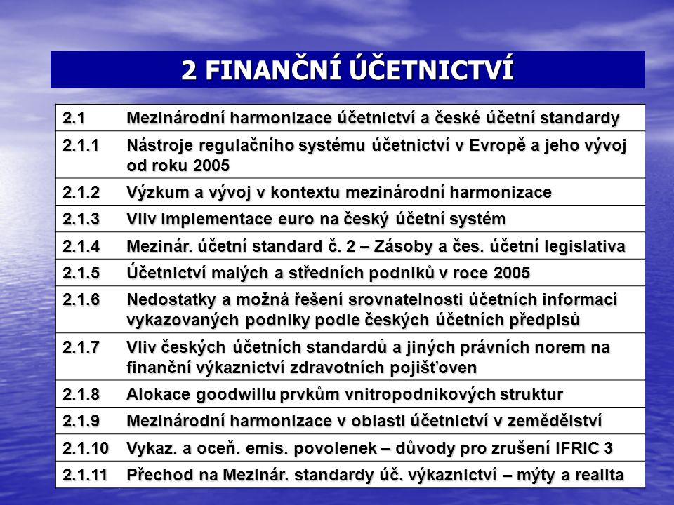 2 FINANČNÍ ÚČETNICTVÍ 1.5Přístup k problematice vztahu zastoupení 2.1 Mezinárodní harmonizace účetnictví a české účetní standardy 2.1.1 Nástroje regul