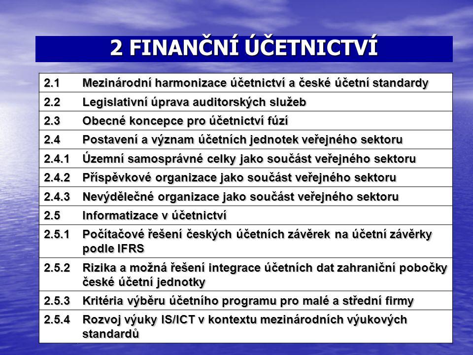 2 FINANČNÍ ÚČETNICTVÍ 1.5Přístup k problematice vztahu zastoupení 2.1 Mezinárodní harmonizace účetnictví a české účetní standardy 2.2 Legislativní úpr