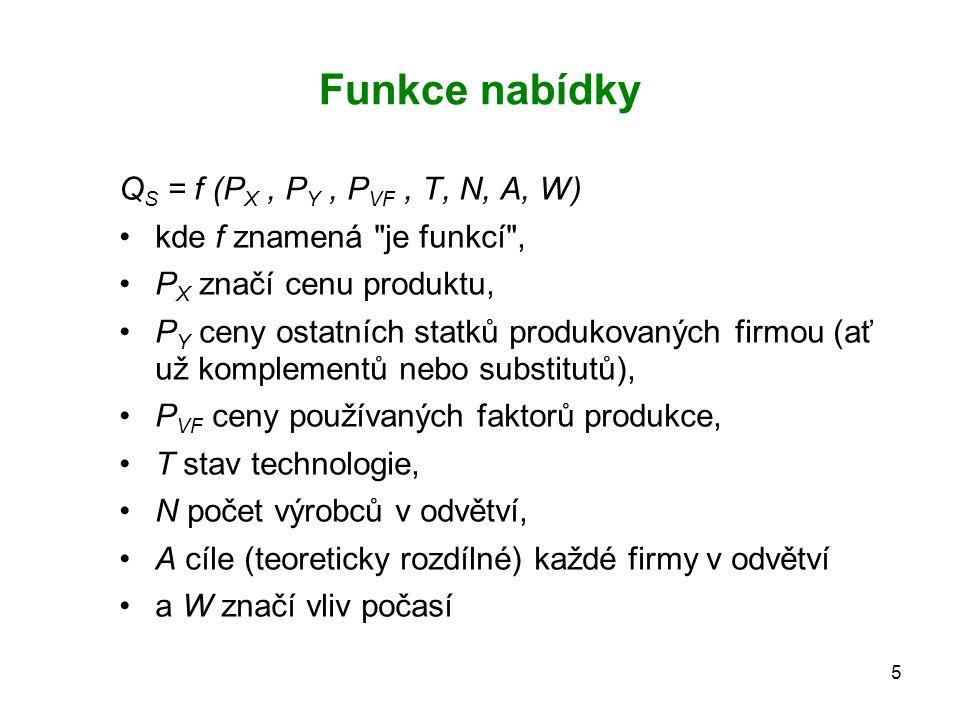 5 Funkce nabídky Q S = f (P X, P Y, P VF, T, N, A, W) kde f znamená