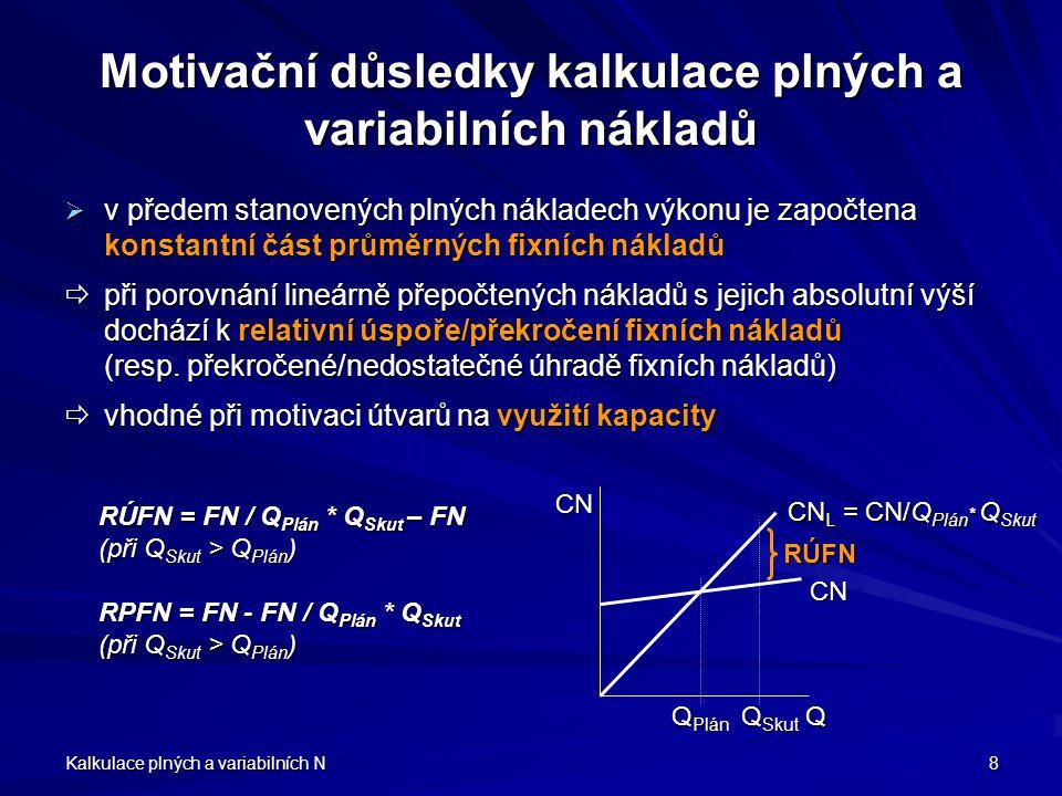 Kalkulace plných a variabilních N 8 Motivační důsledky kalkulace plných a variabilních nákladů vvvv předem stanovených plných nákladech výkonu je