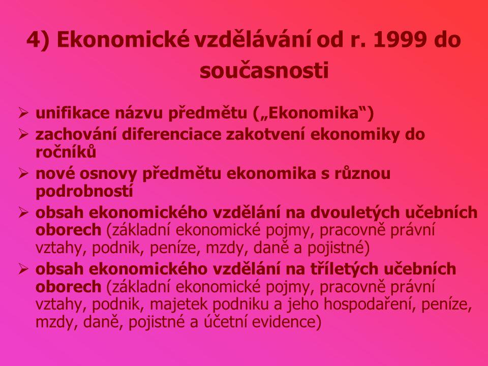 4) Ekonomické vzdělávání od r.