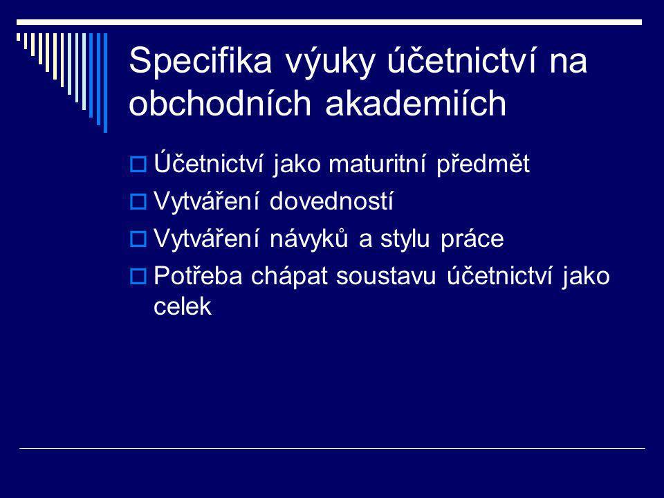 Specifika výuky účetnictví na obchodních akademiích  Účetnictví jako maturitní předmět  Vytváření dovedností  Vytváření návyků a stylu práce  Potřeba chápat soustavu účetnictví jako celek