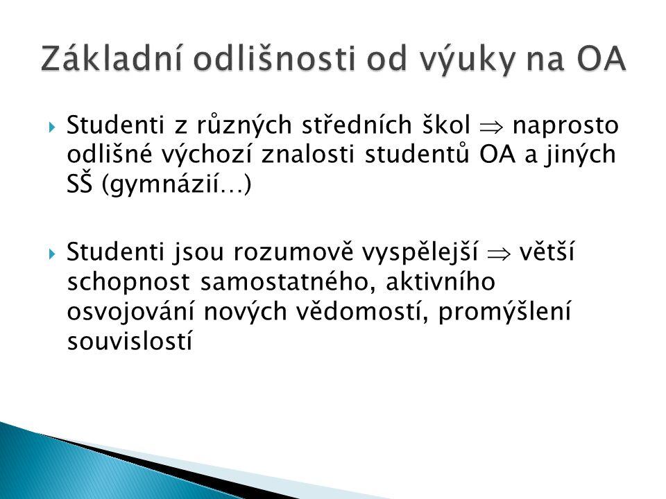 1.Vyrovnávání úrovně znalostí absolventů různých typů SŠ 2.
